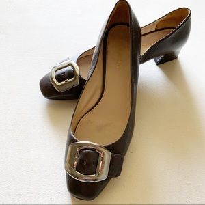 Prada - Leather Buckle Gray Block Heels